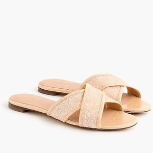 New J Crew Glitter Cora Crisscross Sandal Gold
